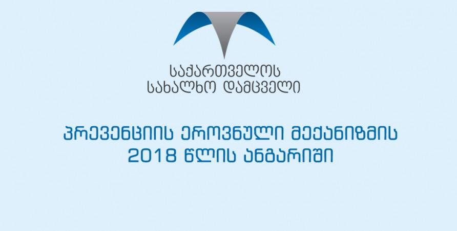 პრევენციის ეროვნული მექანიზმის 2018 წლის ანგარიში