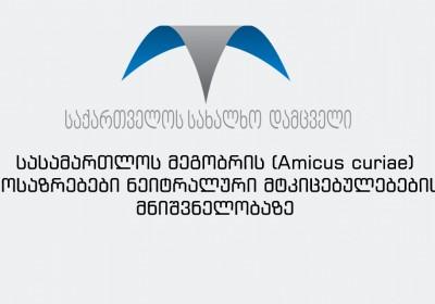 სასამართლოს მეგობრის (Amicus curiae) მოსაზრებები ნეიტრალური მტკიცებულებების მნიშვნელობაზე