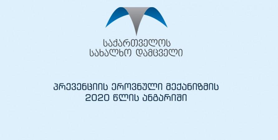 პრევენციის ეროვნული მექანიზმის 2020 წლის ანგარიში