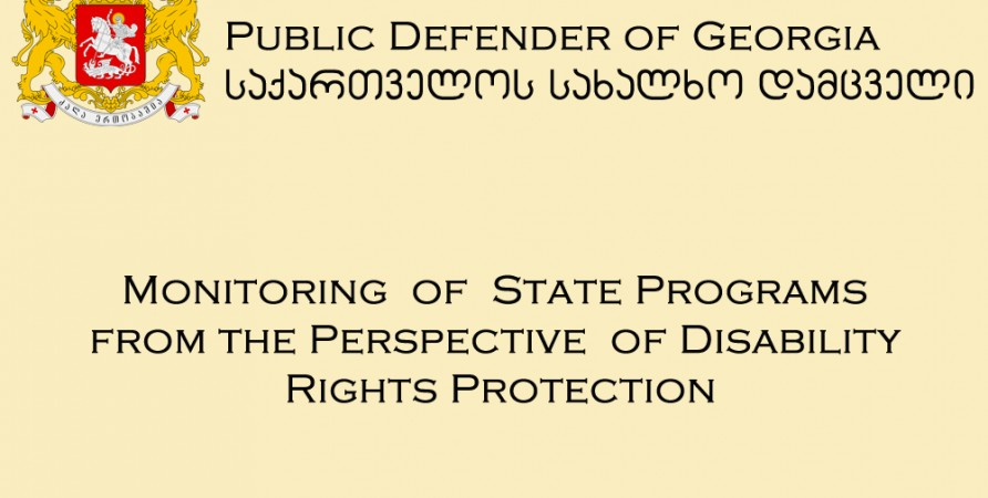 Monitoring  of  State Programs from the Perspective  of Disability Rights Protection
